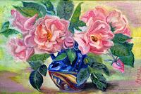 pink tea roses in a vase