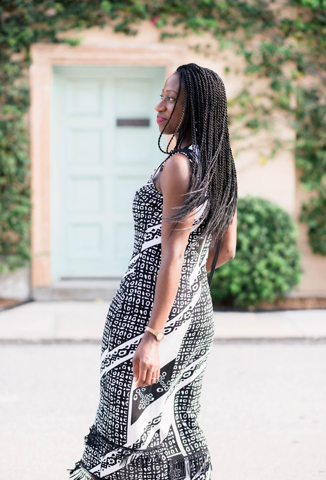 Printed Midi Dress with Fringe