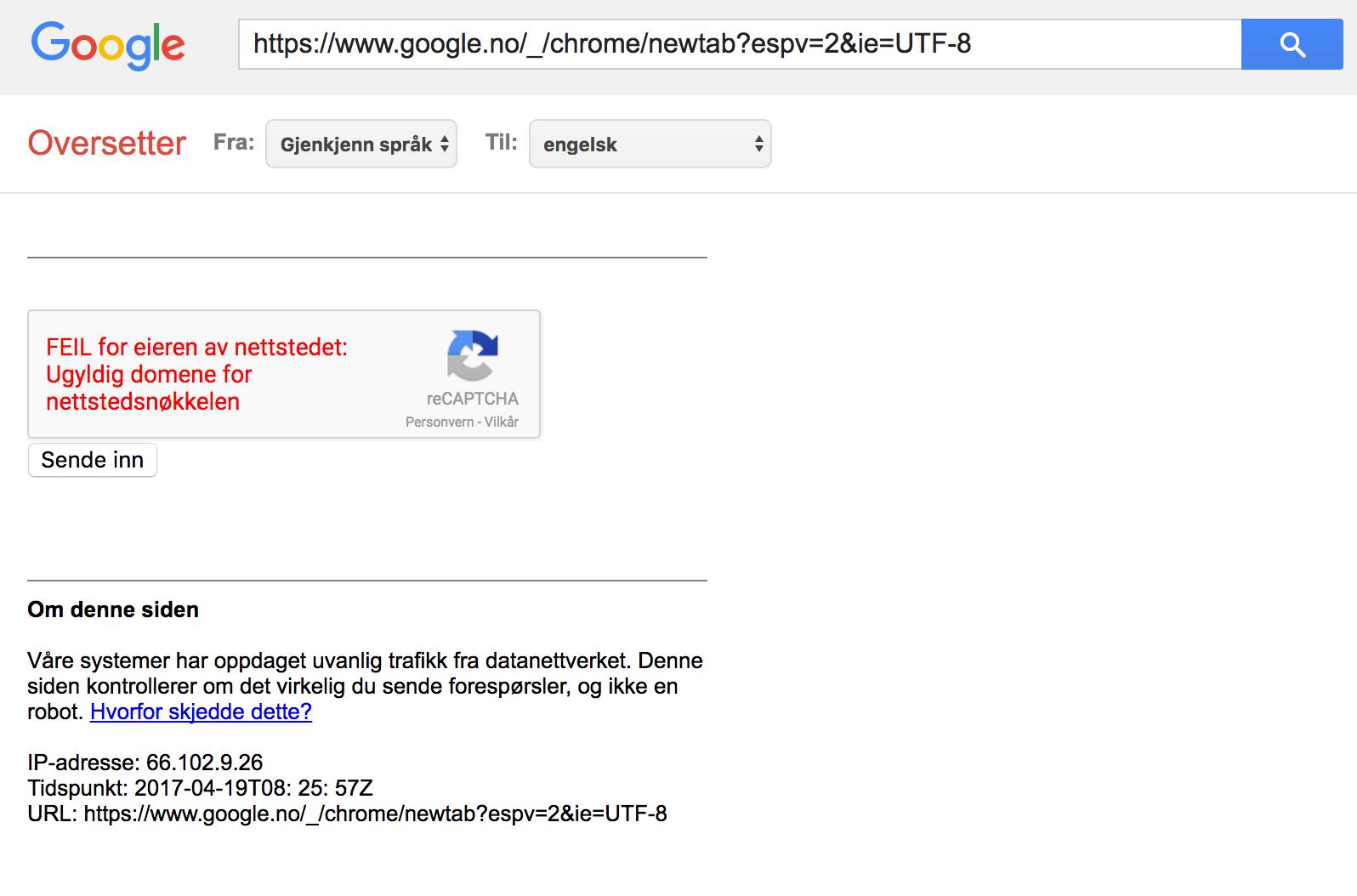 Recaptcha key not valid for google no domain  - Google