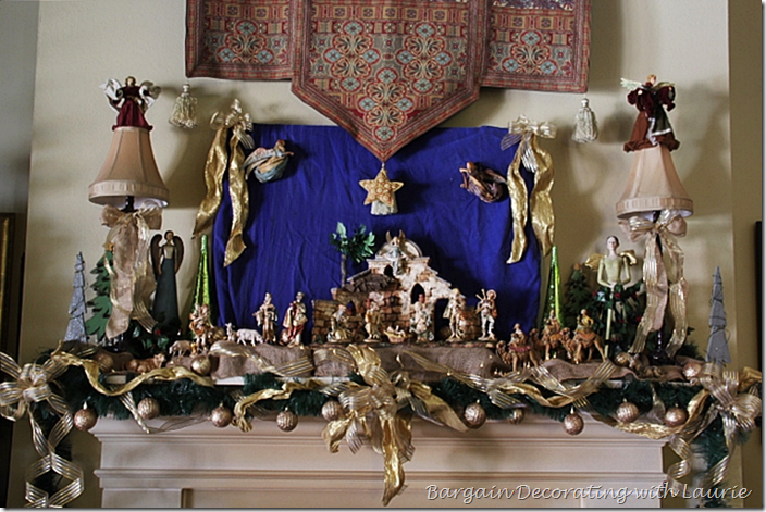 Fontanini Nativity on Christmas Mantel