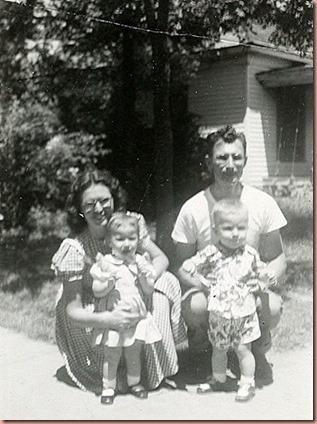 Ruby, Ernest, Becky & Dennis Margheim about 1949