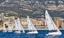 J70s sailing off start line at Primo Cup Monaco