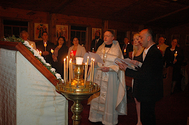 Fr. John, Juliana, and Lasha sing the Paschal Exapostilarion.