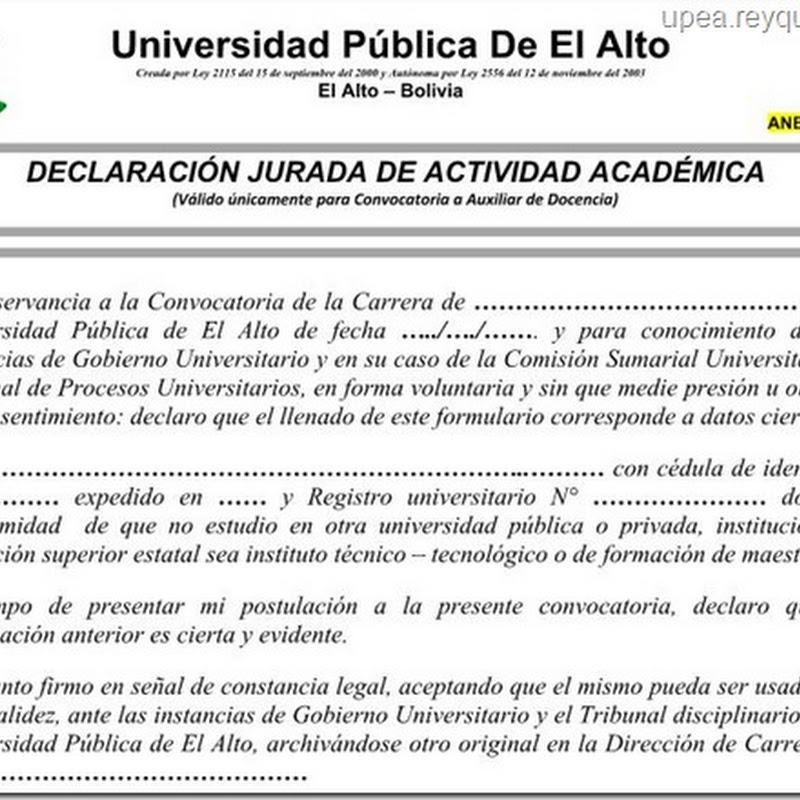 UPEA: Declaración jurada de no estar estudiando en otra universidad pública o privada (Word)