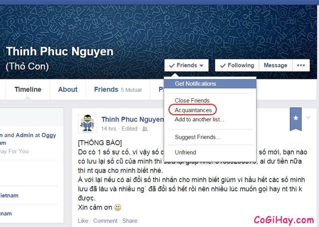 hủy theo dõi status của người khác trên Facebook