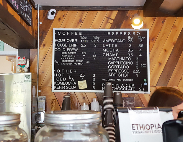 photo of the menu at Dark Horse Coffee Roasters