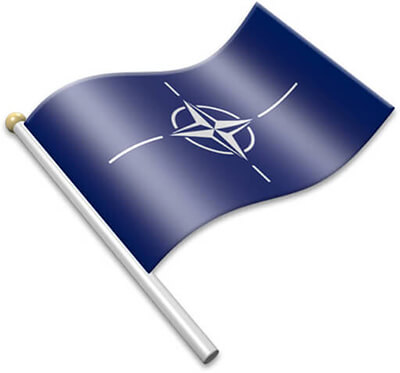 The NATO flag on a flagpole clipart image