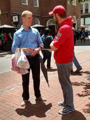 Joshua had an extended conversation with this man from Iceland! How cool that we can meet people from Iceland right in Downtown Boston!