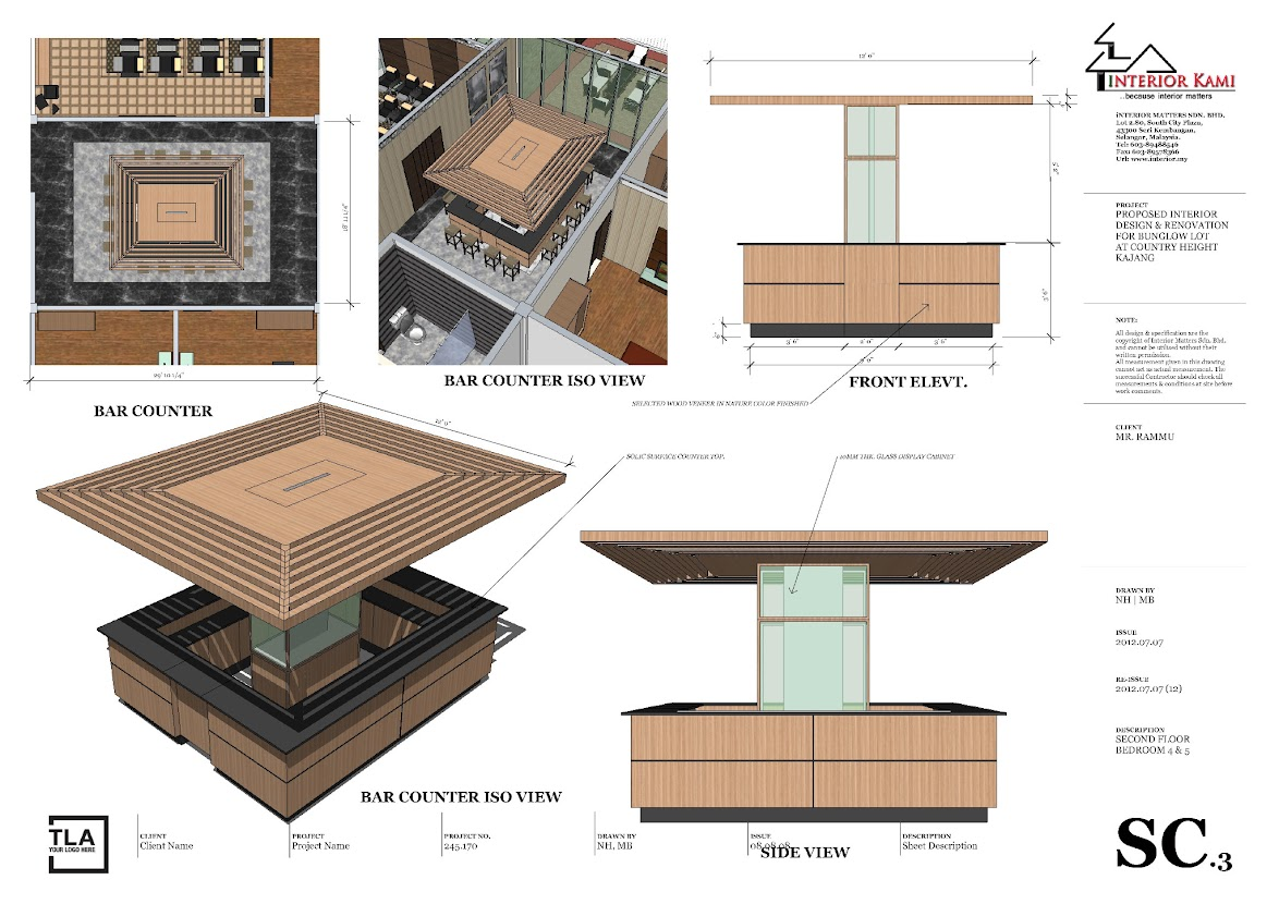 island bar counter detailing drawing