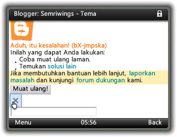 Screenshot Upload template Blogspot via HP