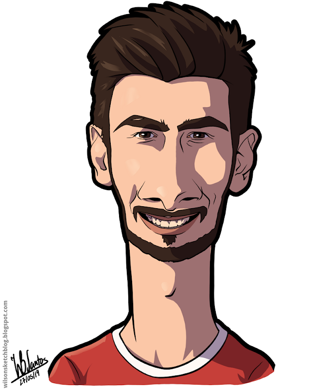 Cartoon caricature of André Gomes.