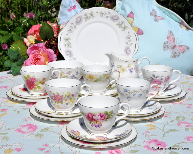 Duchess floral vintage tea set for six with cake plate