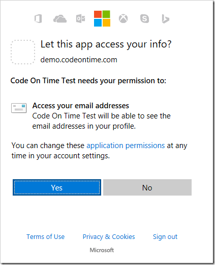 Windows Live displays a permission request - the app is requesting access to the profile's email.