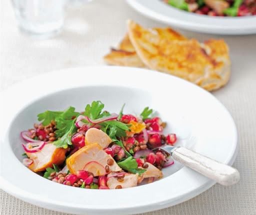 Hot-smoked salmon, lentil & pomegranate salad