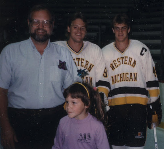 A young Joelle Renstrom at a hockey game with her dad. From an interview with Joelle, on her new book, Closing the book: Travels in Life, Loss, and Literature