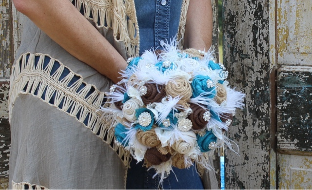 burlap and feather wedding bouquet