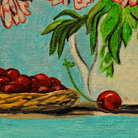 still life of peonies cherry tea