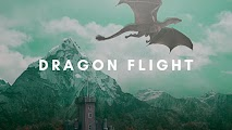 Dragon flight over castle and mountain