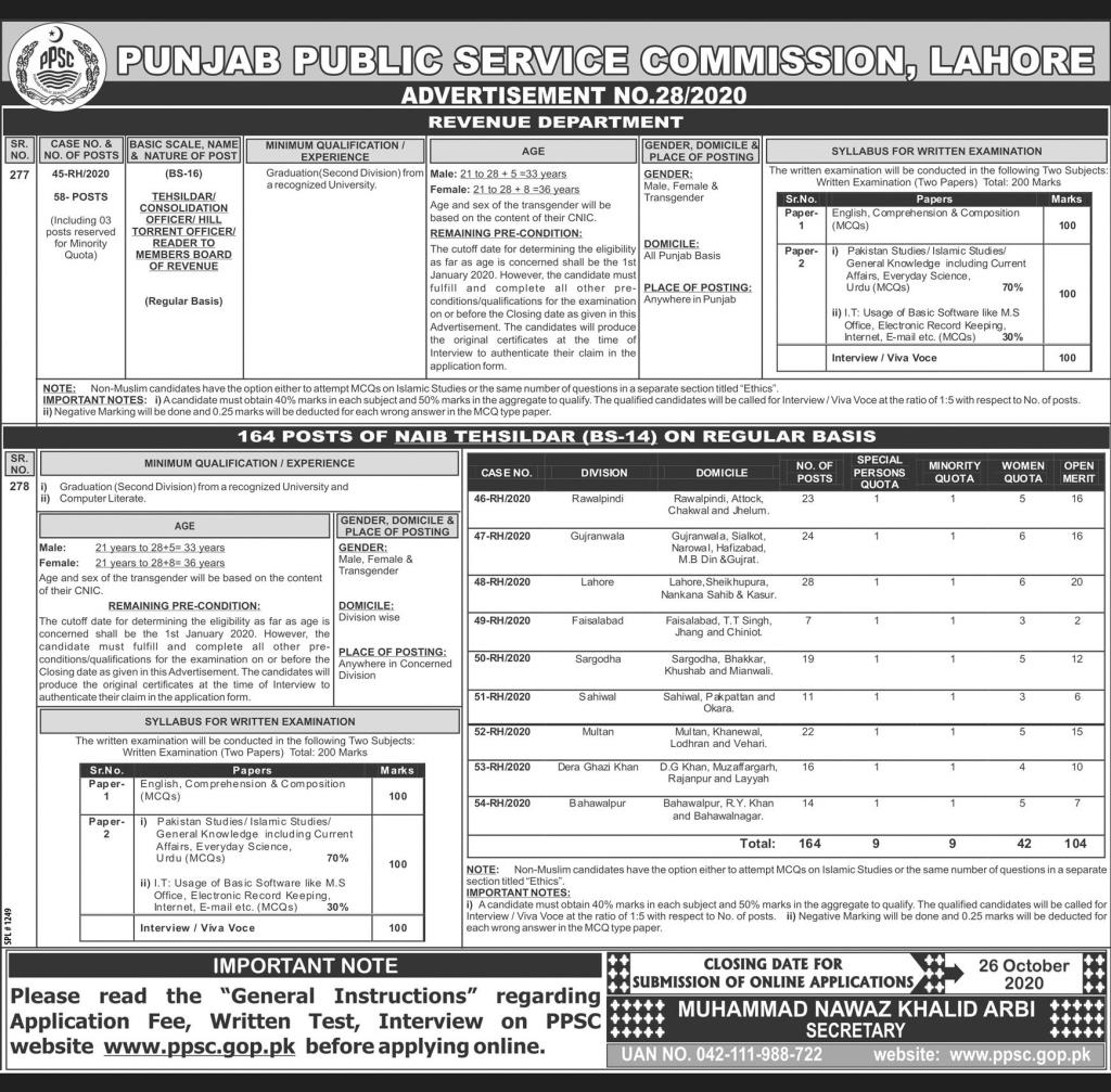 222+Vacancy Punjab Public Service Commission Jobs October 2020