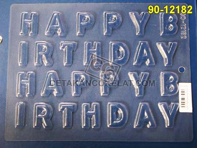 Cetakan Coklat 90-12182 huruf abjad alfabet happy birthday ulang tahun