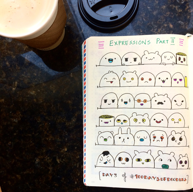 100 Days Of Doodles | Day 3 | Cute Expressions Part II bullet Journal