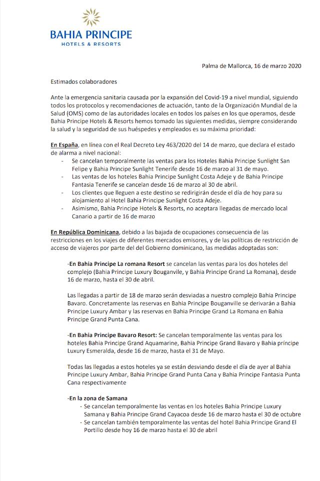 Bahia Principe Hotels & Resorts toma medidas según protocolo de OMS, antes pandemia de Covid-19