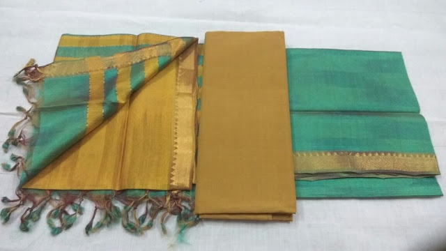 Turquious color Mangalagiri Semi Silk Dress materials