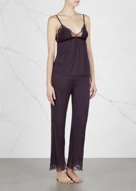 clarisse plum jersey trousers