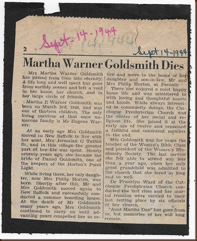 Warner Goldsmith Martha obituary