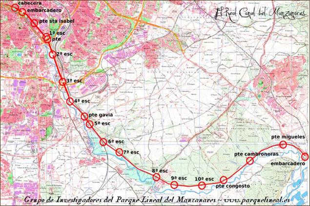 Mapa del Real Canal del Manzanares