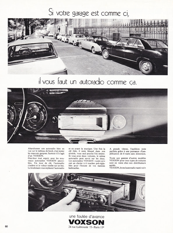 Publicité vintage : Si votre garage est comme ci, il vous faut un autoradio comme ça - Pour vous Madame, pour vous Monsieur, des publicités, illustrations et rédactionnels choisis avec amour dans des publications des années 50, 60 et 70. Popcards Factory vous offre des divertissements de qualité. Vous pouvez également nous retrouver sur www.popcards.fr et www.filmfix.fr   - For you Madame, for you Sir, advertising, illustrations and editorials lovingly selected in publications from the fourties, the sixties and the seventies. Popcards Factory offers quality entertainment. You may also find us on www.popcards.fr and www.filmfix.fr