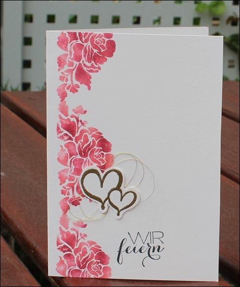 Florale Grüße Stampin Up Hochzeit Einladung Menükarte Platzkarte Pink Rosa Gold Schimmer 05