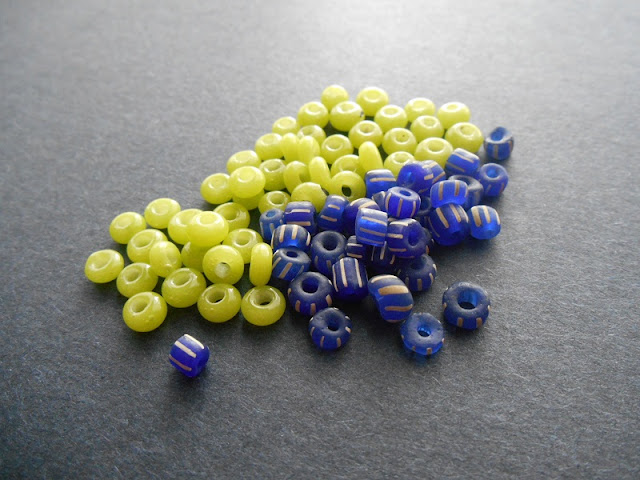 Lime and Cobalt Indonesian Glass Beads