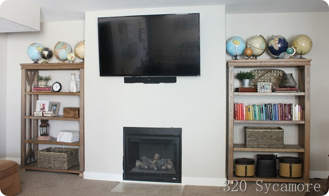 basement fireplace shelves