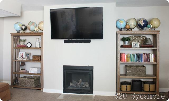 basement fireplace shelves