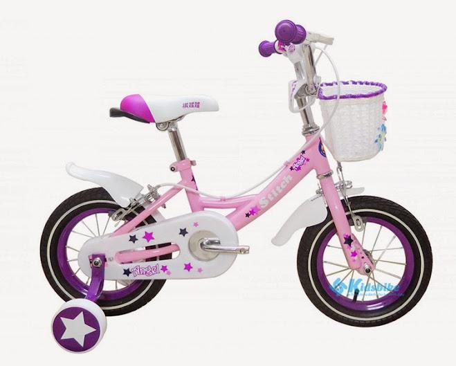 Xe đạp trẻ em Stitch Angel màu tím hồng kiểu dáng thích hợp cho bé gái
