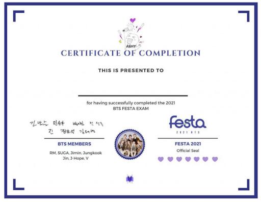 Certificate of Completion BTS Festa 2021 Dapatkan Disini