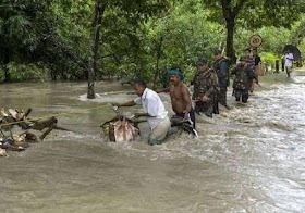 Assam Drowning in Flood have affected lives and livelihoods of people of Assam