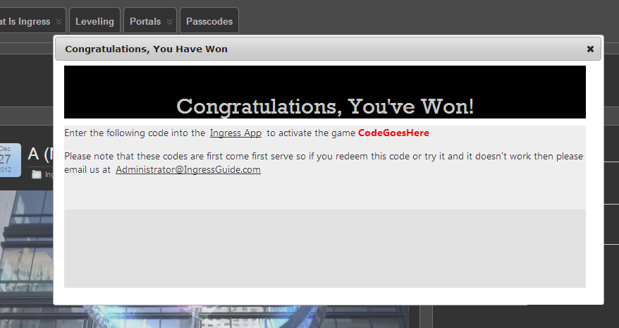 Activation Code Contest Winning Window