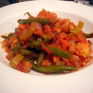 Green Beans and Cauliflower, Stewed in Tomato Sauce.