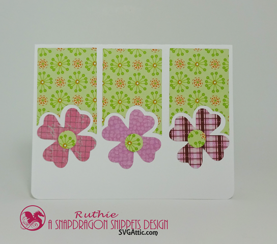 Posies trio shaped card, SnapDragon Snippets, Ruthie Lopez