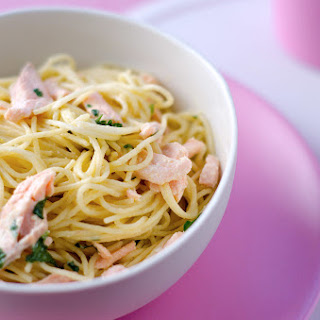 Angel Hair Pasta With Creamy Salmon Sauce.