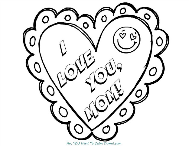 Love You Mom Mothers Day Coloring Page  Free Printable