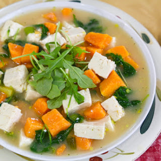Miso Soup with Sweet Potatoes and Greens.