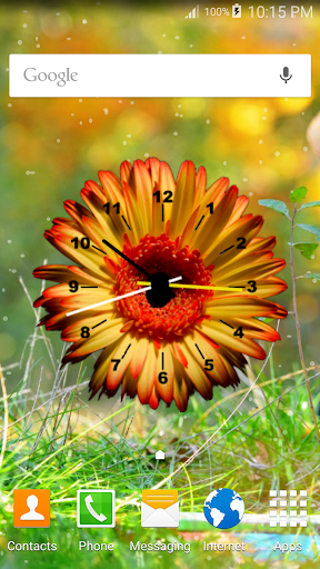 Flowers Clock Live Wallpaper