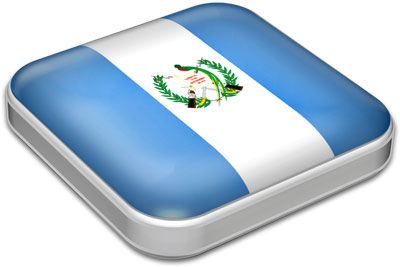 Flag of Guatemala with metallic square frame