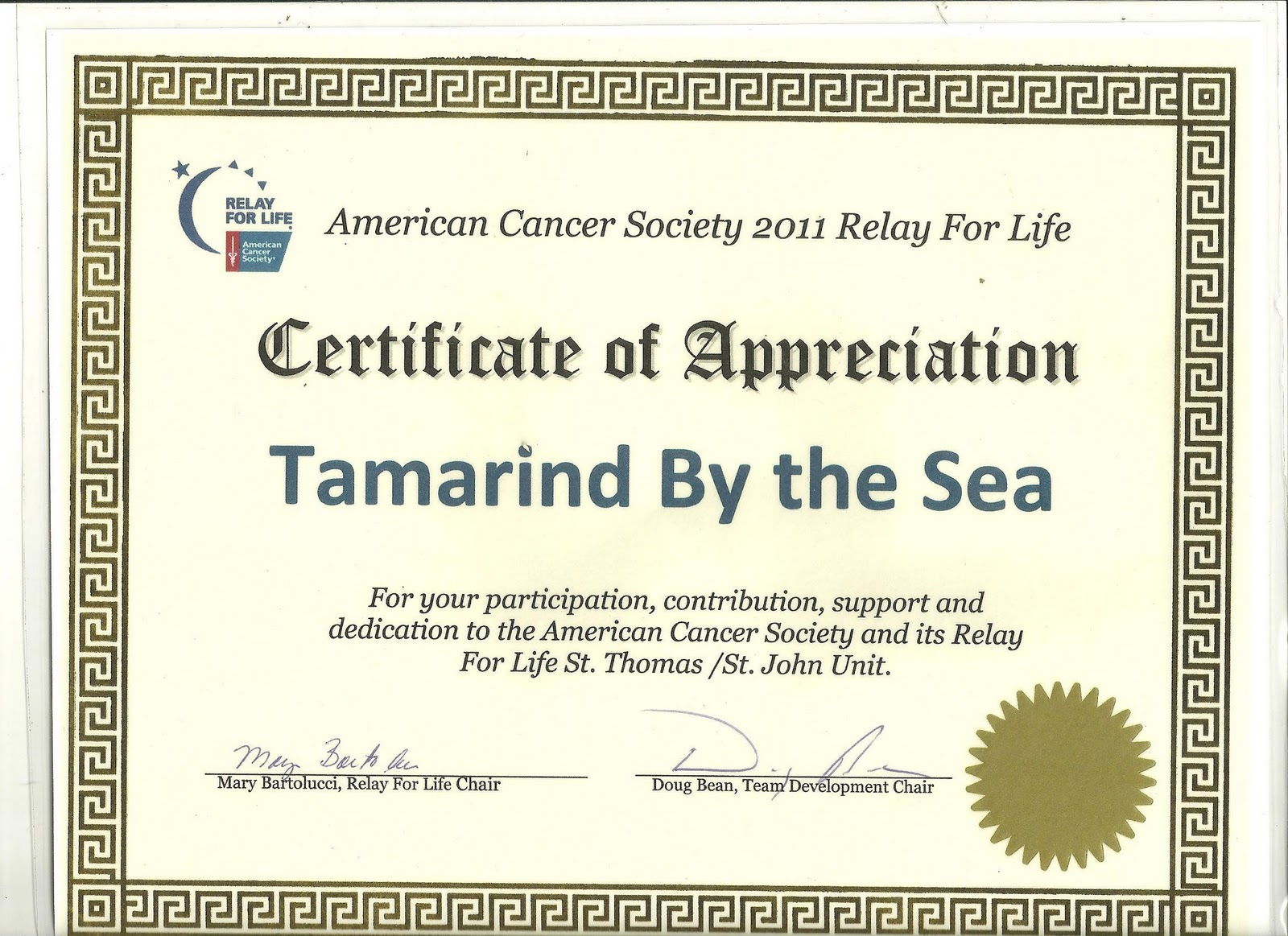 Sadie Sealove City Charters Relay For Life Certificate Of Appreciation