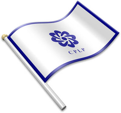 The CPLP flag on a flagpole clipart image