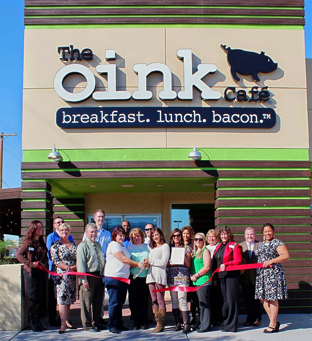 The Oink Café is a modern, comfortable cafe serving homemade breakfast and lunch, handcrafted espresso drinks, premium beer and cocktails along with a specialty in bacon…eight delicious flavors of bacon. You may commence drooling!  The Oink Cafe 7131 E. Broadway Blvd., 85710 Northeast corner of Broadway & Kolb (520) 296-OINK (6465)