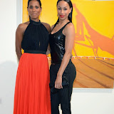 WWW.ENTSIMAGES.COM -   Sherrett Dahlstrong  and Jade Johnson  at   Julio Larraz - Rules of Engagement - private view at Contini Art UK, London October 2nd 2014Private view of exhibition devoted to the paintings by Cuban born artist Julio Larraz, his first major solo exhibition in London, featuring paintings, sculptures and caricatures.                                                Photo Mobis Photos/OIC 0203 174 1069